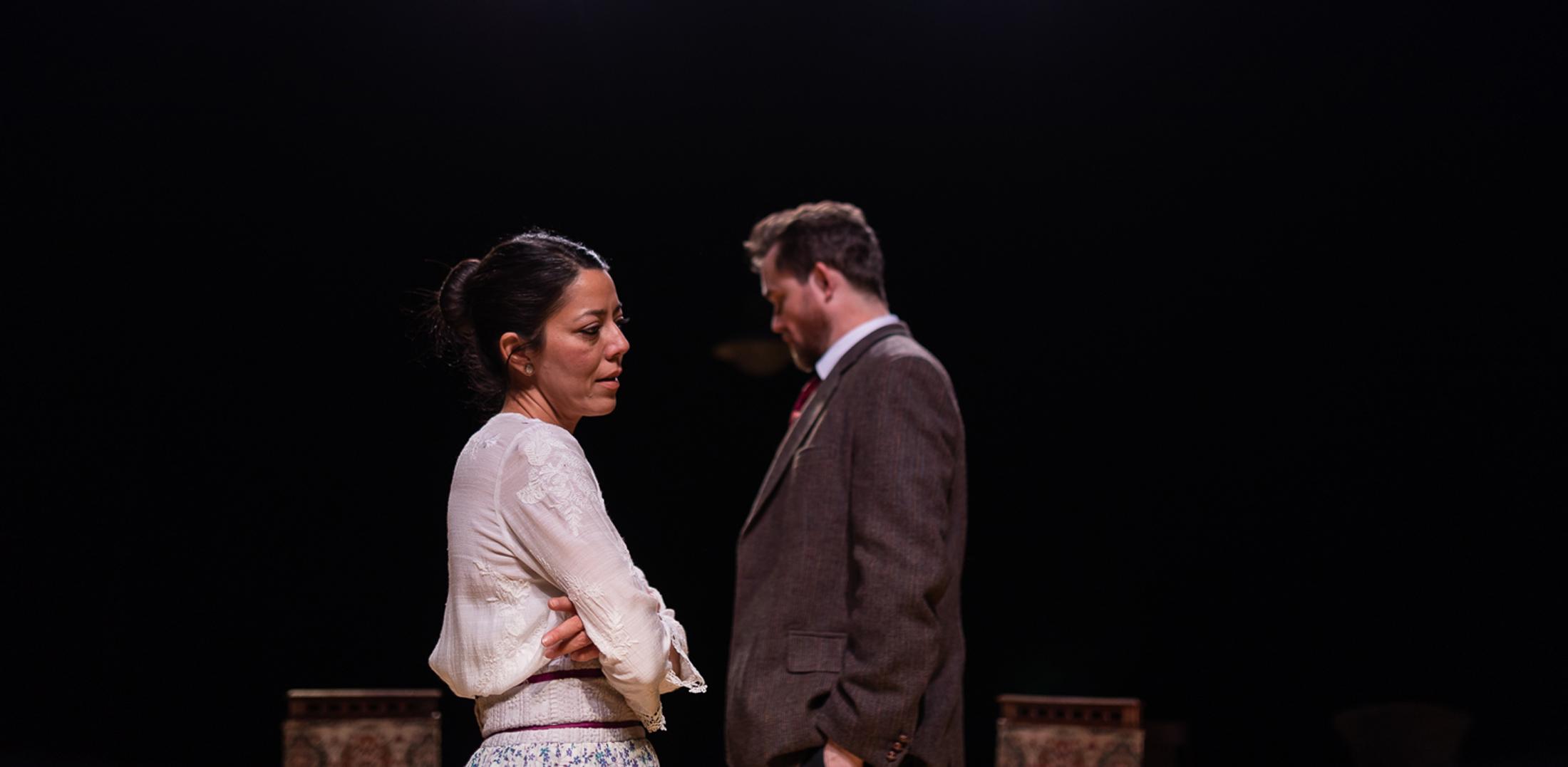 Vaishnavi Sharma as Eliza Doolittle and Eric Tucker as Henry Higgins on stage
