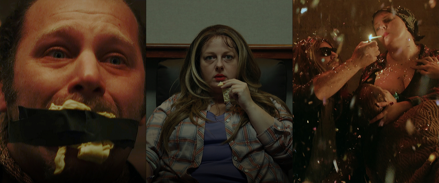 Three scenes from Bedlam: The Series: gagged man, woman eating, party scene