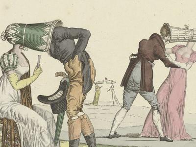 Regency era engraving of people in strange hats