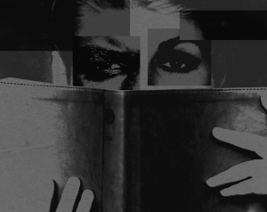 Black and white collage of eyes reading a book