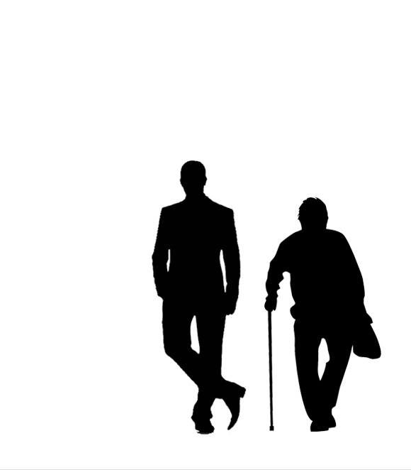 """Man and Superman"" benefit reading poster with silhouette of young man and old man"