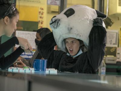 cast member in panda bear costume