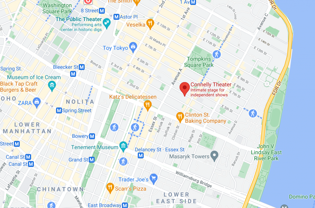 Map of Lower East Side NYC showing location of Connelly Theater