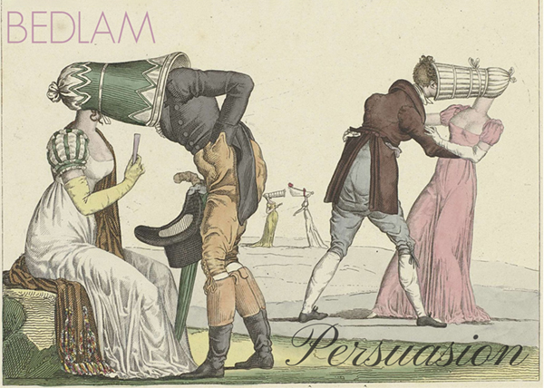 Regency period illustration of people with strange hats